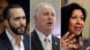 Composición fotográfica del presidente salvadoreño Nayib Bukele y los legisladores de EE. UU. Albio Sires y Norma Torres. Fotos: Reuters y AP]