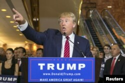 U.S. presidential hopeful Donald Trump speaks during a press conference at Trump Tower in Manhattan, New York, Sept. 3, 2015.