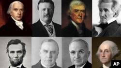 A composite of some of the richest and poorest U.S. presidents (top row from left): James Madison, Theodore Roosevelt, Thomas Jefferson (AP Photo), Zachary Taylor. (Bottom row, from left) Abraham Lincoln, William McKinley, Harry Truman and George Washington.