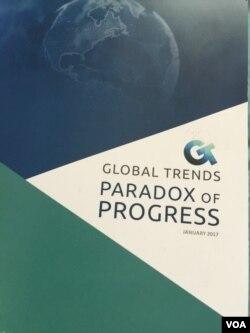 《全球趨勢:進步的悖論》報告的封面(美國之音莉雅拍攝)