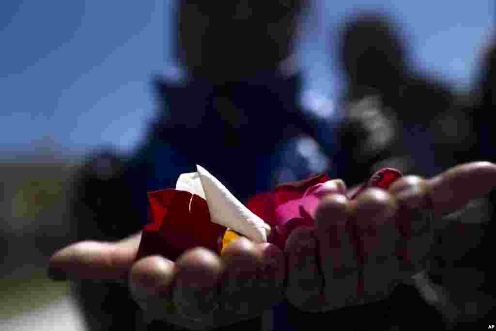 A woman holds flower petals in her hands before throwing them into the Manzanares river during an event marking International Roma Day in Madrid.  Members of Spain's gypsy community held the ceremony to symbolize the departure of their ancestors from India and their exodus across the world.