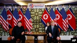美国总统特朗普和朝鲜领导人金正恩在越南河内举行会晤。(2019年2月28日)