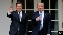 Trump US Panama President Donald Trump stands with Panamanian President Juan Carlos Varela. (File)