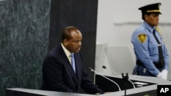 File - Swaziland's King, Mswati III, addresses the 68th session of the United Nations General Assembly, Sept. 25, 2013 at U.N. headquarters.
