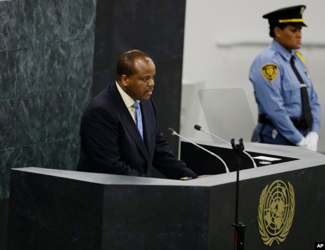FILE - Swaziland's King, Mswati III, addresses the 68th session of the United Nations General Assembly at U.N. headquarters, Sept. 25, 2013.