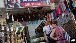 Russian tourists shop in the Old Market in the Red Sea resort town of Sharm el-Sheikh, south Sinai, Egypt, Nov. 8, 2015.