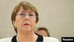 聯合國人權事務高級專員巴徹萊特2019年3月6日在日內瓦出席人權理事會會議。