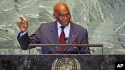 Le président Wade à la tribune de l'Assemblée générale de l'ONU (21 sept. 2011)