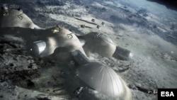 Badan antariksa Eropa atau European Space Agency (ESA) bekerjasama dengan badan antariksa China akan membangun 'Desa Bulan' seperti gambar artis ini (foto: ilustrasi).
