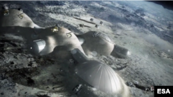 "The European Space Agency is going ahead with plans to build a ""moon village"" seen above in an artist's sketch. (ESA)"