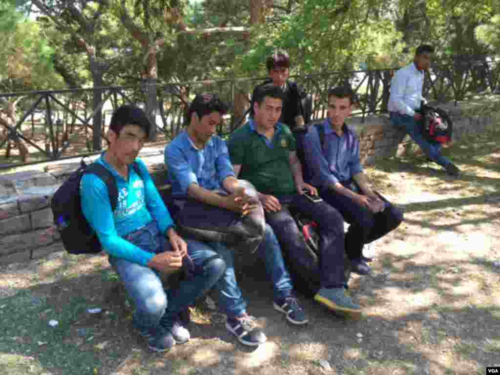 The six young Afghan men on Lesbos. (Jeff Swicord/VOA News)