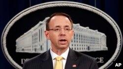 El vice fiscal general de EE.UU., Rod Rosenstein, anunció las acusaciones contra nueve iraníes por ataques cibernéticos a universidades, el viernes, 23 de marzo, de 2018.