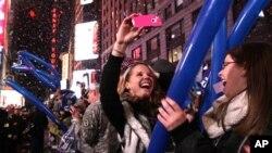 미국 뉴욕 타임스퀘어의 새해맞이 풍경