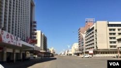 The city was deserted Tuesday as people were ordered to leave the central business district. (Taurai Shava)