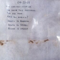 The letter containing anthrax that was sent to the office of the Senate majority leader