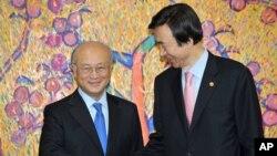 지난 2013년 10월 한국 외교부를 방문한 아마노 유키야 국제원자력기구(IAEA) 사무총장(왼쪽)이 윤병세 한국 외교부 장관과 인사하고 있다. (자료사진)