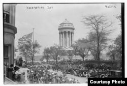 Memorial Day festivities are held on Fifth Avenue at the Soldiers' and Sailors' Monument in Riverside Park, New York City on May 30, 1917. (photo courtesy of 2015 Flickr Commons project and contributor Names Bain News Service)