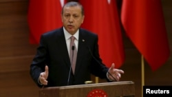 FILE - Turkish President Recep Tayyip Erdogan makes a speech at the Presidential Palace in Ankara, Nov. 26, 2015. Ankara summoned the American ambassador, John Bass, on Feb. 9, 2016, to protest remarks by a State Department spokesman who said Washington does not consider Syria's Kurdish Democracy Union Party (PYD) a terrorist organization.