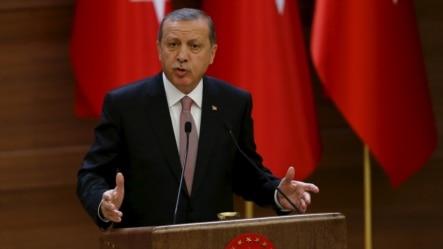 土耳其总统埃尔多安在安卡拉的总统府发表讲话 (2015年11月26日)