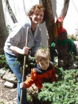 Alexandra Patz gardens with her son, Douglas.
