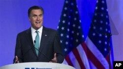 Kandidat capres AS dari partai Republik, Mitt Romney, berpidato di hadapan para anggota Asosiasi Redaksi Surat Kabar di Washington DC (4/4)