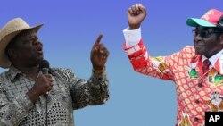 Movement for Democratic Change (MDC-T) leader Morgan Tsvangirai and Zanu PF's Robert Mugabe (AP Photos/Collage by Ntungamili Nkomo)