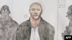 FILE - Court drawing shows Mehdi Nemmouche, the 29-year-old suspected gunman in a quadruple murder at the Brussels Jewish Museum, during a court hearing in Versailles, France, June 26, 2014.