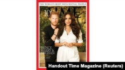 Harry and Meghan one of the 7 covers of Time magazine's 100 most influential people in the world editions in this handout photo released to Reuters on September 15, 2021. TIME/Handout via REUTERS MANDATORY CREDIT