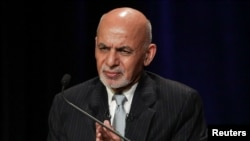 FILE - Afghanistan's President Ashraf Ghani speaks at a panel discussion at Asia Society in Manhattan, New York, Sept. 20, 2017.
