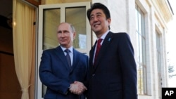 Russian President Vladimir Putin, left, and Japanese Prime Minister Shinzo Abe shake hands during their meeting in the Bocharov Ruchei residence in Sochi, Russia, Saturday, Feb. 8, 2014.