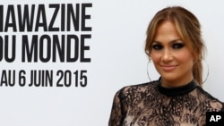 Jennifer Lopez poses for photographers prior to a press conference, during the Mawazine Festival in Rabat, Morocco, May 28, 2015.