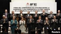 Los candidatos presidenciales mexicanos firmaron un pacto de civilidad por el cual se comprometen a respetar los resultados de la elección.