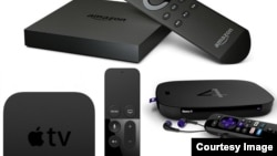 Streaming devices from Amazon, Roku and Apple.