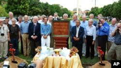 The surviving journalists and photographers who covered the war in Cambodia between 1970-75 gathered in Phnom Penh last week. They are seen here at a memorial to mark the 37 local and foreign colleagues who died during that time.