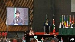 President w'igihugu ca Nigeria, Dr. Goodluck Ebele Jonathan, ariko arashikiriza ijambi, igihe c'inama nkuru y'ishirahamwe rya Afrika kw'igenekerezio rya 2 ry'ukwezi kw'icenda, 2014, inNairobi, muri Kenya.