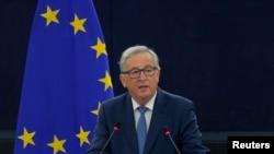 یورپی یونین کے صدر جین کلاڈ ، فرانس میں ہونے والی ایک کانفرنس میں۔ 14 ستمبر 2016