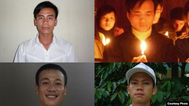 Các nhà hoạt động Công giáo trẻ (theo chiều kim đồng hồ từ trên bên trái): Nhà hoạt động Công giáo Chu Mạnh Sơn; Đậu Văn Dương, Hoàng Phong, Trần Hữu Đức