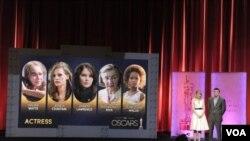 有關人士在奧斯卡獎入圍名單公布儀式上宣佈最佳女演員候選人