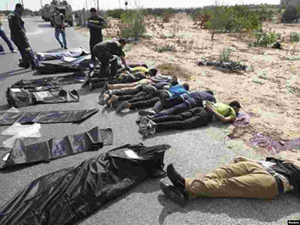 Qohira yaqinida bir necha politsiyachining jasadi topilgan. 19-avgust, 2013-yil.