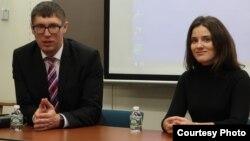 Тарас Шевченко и Юлия Марушевская на встрече. Photo: Oleg Sulkin