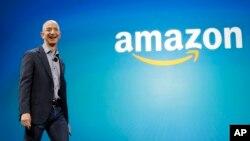 CEO Amazon Jeff Bezos dalam peluncuran produk baru Amazon di Seattle, Washington (foto: ilustrasi).