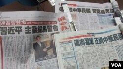 台灣媒體關注連習會(美國之音張永泰拍攝)