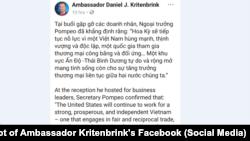Bài gốc trên Facebook hôm 8/7 của Đại sứ Mỹ Kritenbrink nói về cuộc gặp của Ngoại trưởng Pompeo
