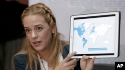 Lilian Tintori, aktivis anti-pemerintah Venezuela yang juga istri Leopoldo Lopez , aktivis terkemuka Venezuela yang kini ditahan pemerintah (foto: dok).