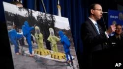 Deputy Attorney General Rod Rosenstein speaks about the dangers of fentanyl, at DEA Headquarters in Arlington, Virginia, June 6, 2017.