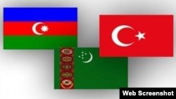Azərbaycan-Türkmənistan-Türkiyə bayraqları