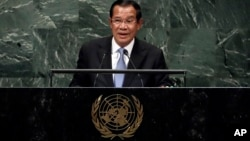 Cambodia's Prime Minister Hun Sen addresses the 73rd session of the United Nations General Assembly, at U.N. headquarters, Friday, Sept. 28, 2018. (AP Photo/Richard Drew)