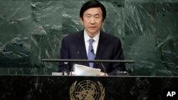 Ngoại trưởng Hàn Quốc Yun Byung-se trong một lần phát biểu tại trụ sở Liên Hiệp Quốc, 22/9/2016.