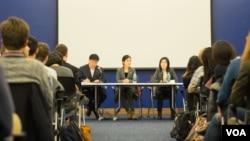 미국 조지타운대학 북한인권모임인 THiNK가 마련한 포럼에서 탈북자들이 증언하고 있다. 사진제공: Charles Yook.