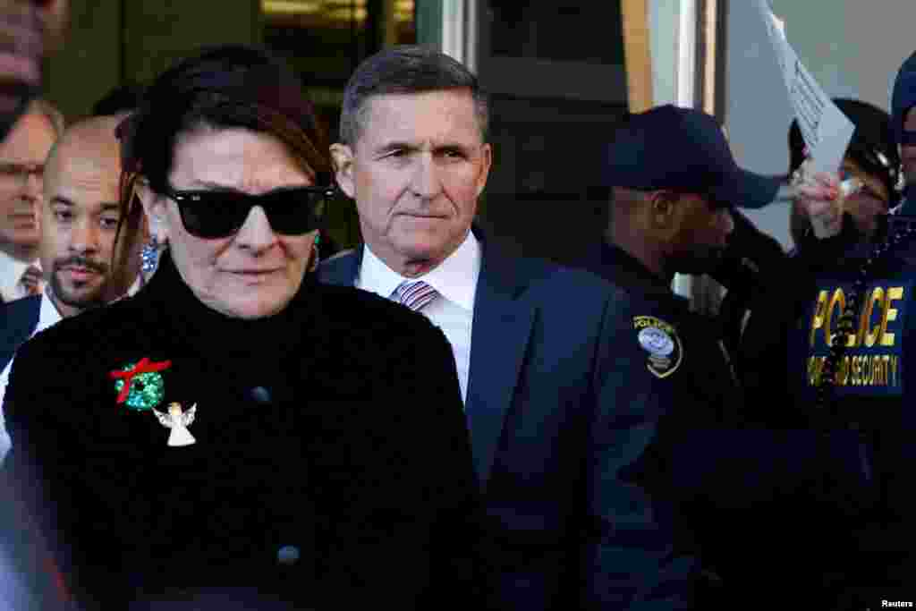 Former U.S. national security adviser Michael Flynn departs the US District Court in Washington after his sentencing was delayed.